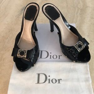 Dior Black Cannage Metal Bow Heels